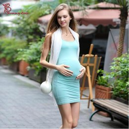 Wholesale Spring New Maternity Modal Cotton One Piece Dress Pregnant Woman Modal Basic Slim Tank Dress Fresh Solid Color Top Clothing