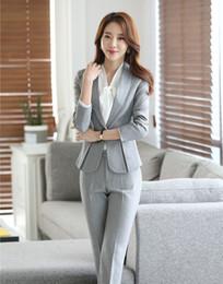 Wholesale Formal Ladies Pant Suits for Women Business Suits Black Grey Blazer amp Jacket Sets Office Uniform Style