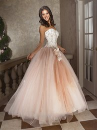 Wholesale Sweet Lace Ball Gown Quinceanera Dresses With Sweetheart Flowers Beading Tulle Lace Up Floor Length Festa Debutante Prom Gowns