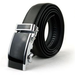 Melhor qualidade designer moda de marca cintos de cintura de negócios dos homens fivela automática Cintos de couro genuíno para os homens 105-125cm frete grátis