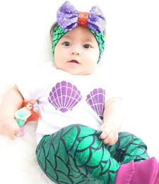 Wholesale 2016 baby shell purple green mermaid fish scales boutique pants kids Summer clothes girls clothing with bow and headband set