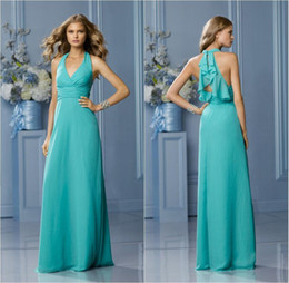 Wholesale Hot Sale Halter Neckline Sleeveless Long Fashion Bridesmaid Dresses Pleated Corset Chiffon Floor Length Wedding Guests Dress