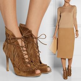 Discount Brown Fringe Heel Boots | 2017 Brown Fringe High Heel ...