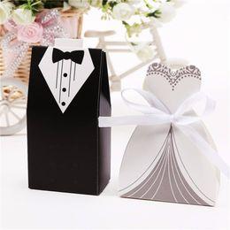 Wholesale 100Pcs Bridal Gift Cases Groom Tuxedo Dress Gown Ribbon Wedding Favors Candy Box Sugar Case Wedding Decoration mariage casamento