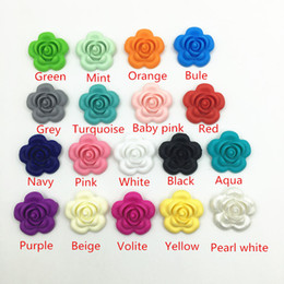 online shopping Large rose flower Loose Beads for Food Grade Silicone Teething Necklace silicon teether pendant toys