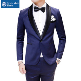Discount Mens Blue Suit Black Collar | 2017 Mens Blue Suit Black ...