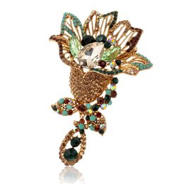 online shopping Retail pc cheap fashion crystal Flwoer Elegant Brooch High end beautiful brooches pin pins for women XBYO0020
