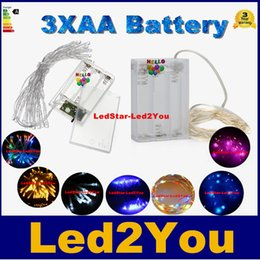 3xAA Battery Operated Guirlande lumineuse 2M 20LEDs 3M 30LEDs 4M 40LEDs 5M 50LEDs LED fil de cuivre Guirlande de lumières pour Noël Accueil Party