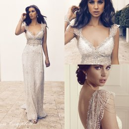 Wholesale 2016 Anna Campbell Lace Boho Summer Backless Wedding Dresses Cap Sleeves Crystal Beading Luxury Sexy Beach Bridal Party Gowns Custom Made