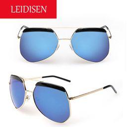 Wholesale 2016 LEIDISEN Women Men Premium Full Mirrored Aviator Sunglasses w Flash Mirror Lens Uv400 Flat Top Unisex Oversized Shades