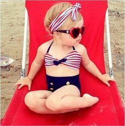 Wholesale 2016 New Korean Baby Girls Bikini Kids Girl Striped Swimwear Baby Swimsuit Ruffle Bow Princess Three Pieces Swim Sets Cute Clothing