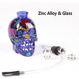 online shopping NEW Colored Skull Pipes Glass Hookahs Bong Zinc Alloy Glass With Leather Hose Portable Mini Pipes Smoking Accessories Lipstick Smoking Pipe