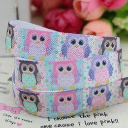 Wholesale 5 mm animal Owls Flower Replier Elastic FOE Printed Ribbon gros cheveux bébé bricolage Bow Sewinig A2 F