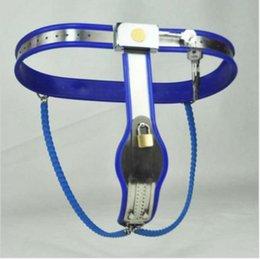 Wholesale M169 nova escravidão do sexo feminino em aço inoxidável com fecho ajustável Y Tipo dispositivos de castidade cinto de cor azul brinquedos do sexo para mulheres