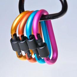 Mains en or Escalade extérieure Mousquetons Haute Qualité 8CM Type D Boucle d'alpinisme Bold Hang Lock Aluminium en alliage Sac à dos Boucle de suspension