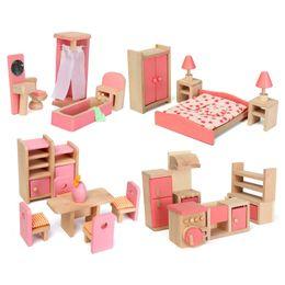 discount dollhouse furniture bedroom hot selling dollhouse miniature wood furniture dining room kitchen bedroom bathroom wooden affordable dollhouse furniture