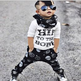Discount wholesale shirts for summer INS Letters Print T Shirt Top+Skull Harlan Pant Sport Suit For Baby Boy Clothes Costume Spring Autumn Children Kid Set Tracksuit Clothing