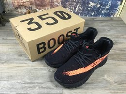 Wholesale Adidas Originals Yeezy Boost V2 Running Shoes Men Women Colors SPLY Yeezys Black White New Sports Shoes With Box