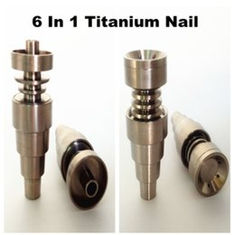 Universal 6 en 1 Titanium clou 10/14 / 18mm femelle et mâle Domeless Nail Titanium Carb Cap Pour Pipe en verre