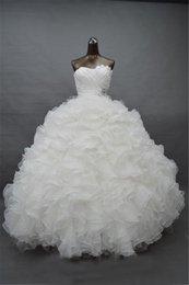 Wholesale Hinchadas de blanco vestidos de quinceañera envío libre Vestido De Debutante Barato Organza vestidos de bola vestidos de baile