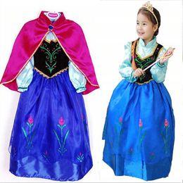Wholesale 2016 New Kids Anna Elsa Costume Dress For Girls Princess Dresses Children Party Costume Fairy Tales Elsa Halloween Cosplay MC0173