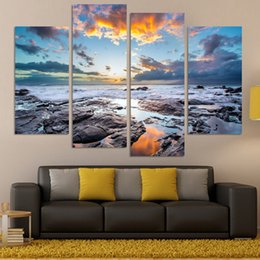 4 pcs large hd seaview with ship top rated canvas print painting for living room wall art picture home decoration home pictureno frame