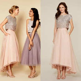 Wholesale 2016 New Two Pieces Sparkly Sequins Bodice Bridesmaid Dresses Crew Neck Cap Sleeves High Low Organza Skirt Party Gowns with Pockets