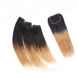 Discount ombre weaves closure Peruvian Virgin Hair weave With Closure,1pcs Free part Lace Closure with 3Pcs Hair Bundle,4pcs lot Ombre straight hair