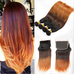 2017 ombre weaves closure 1B 4 30 Ombre Brazilian Silky Straight 3Bundles With Closure 4Pcs Lot Virgin Brazilian Three Tone Colored Human Hair With 4x4 Lace Closure ombre weaves closure on sale