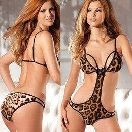 Wholesale 2016 Sexy Lingerie Leopard Printed One Piece Set Bodysuit One Size Sexy Sleepwear Underwear Sexy Uniform Sexy Costume