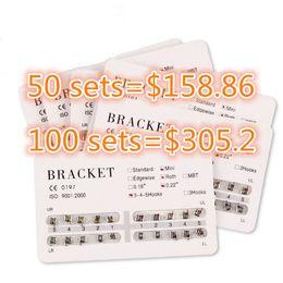Wholesale 50 Sets Dental Orthodontic Metal Bracket set dental bracket Braces MINI STANDARD ROTH MBT Hooks New