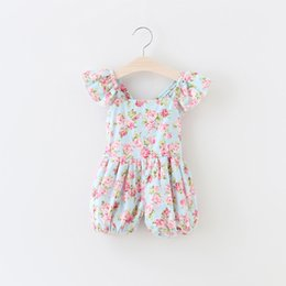 Wholesale Summer babies romper clothes Baby girls ruffle fly sleeve romper kids floral plaid printed jumper children cotton Sweet Dazzel Pants A8580
