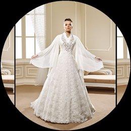 Wholesale Romántica encaje de manga larga musulmanes vestidos de novia nueva llegada de encaje alto cristal una línea de vestidos de novia de Tulle vestidos de novia