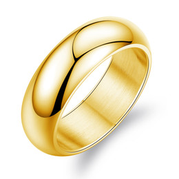 fashion 7mm wide mens stainless steel ring band simple design high polish band confort fitsilver gold black size 7 11 - Wedding Ring Design