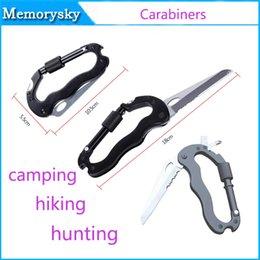 Pas cher Clip-On Carabiners Clamp Crochet porte-clés avec Vente double couteau Camping randonnée en plein air Outil extérieur À sécurité