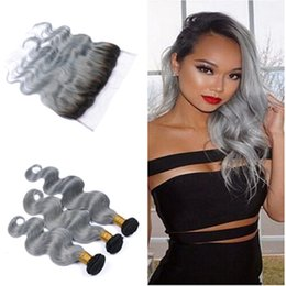 2017 ombre weaves closure Ombre Sliver Grey Hair Weaves With Lace Frontal Closure Peruvian Human Hair Body Wave T1b Grey# Ear to Ear 13x4 Frontal With Bundles affordable ombre weaves closure