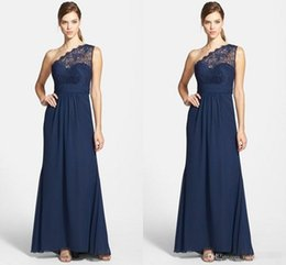 Wholesale 2016 Cheap Navy Blue Chiffon Long Bridesmaid Dresses One Shoulder Lace Top Ruched Wedding Guest Gown Maid Of Honor Formal Evening Dresses