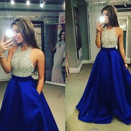 Wholesale 2016 Halter Neck Prom Party Dresses with Pockets Puffy Skirt Long Formal Backless Evening Gowns Beaded Plus Size Special Occasion Dress wear