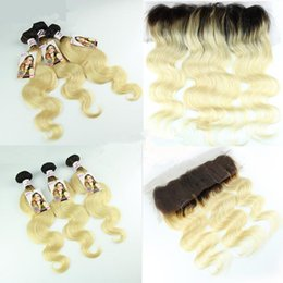2017 ombre weaves closure 9A Ear to Ear Lace Body Wave Frontal Closure With Bundles T1B 613 Blonde Ombre Peruvian Human Hair Weave With 13x4 Lace Frontal ombre weaves closure promotion