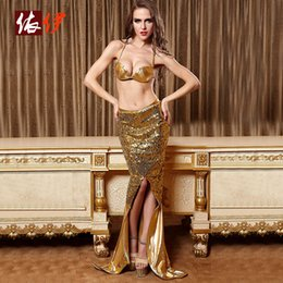 Wholesale Al por mayor atractivo de la sirena de la cola del traje de Cosplay del oro de la sirena de cola del traje abierto Tenedor del desgaste del club sirenas vestidos de ropa interior atractiva del sujetador Vestidos Conjunto