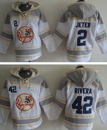 Wholesale OLD TIME men s hockey hoody hoodies ny new york yankees derek jeter mariano rivera white