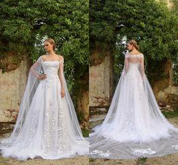 lastest design wedding dresses 2016 summer white lace applique bridal gowns with tulle long cape off shoulder wrap wedding dresses custom