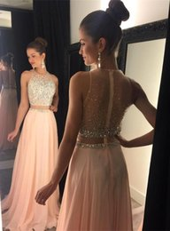 Wholesale 2016 New Blushing Two Piece Prom Dresses for Teens Chiffon Beaded Crystals Long A line Sexy Evening Gowns Sheer Back