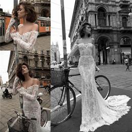 Wholesale liz martinez Summer Lace Mermaid Wedding Dresses Sexy Off Shoulder Illusion Long Sleeves Appliqued Beach Sheer Bridal Gowns BA2447