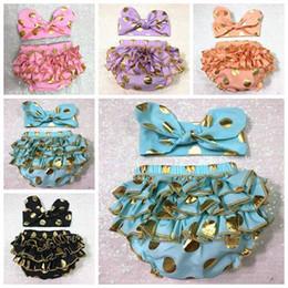 Wholesale girls gold polka dot shorts baby bloomers headbands set childrens ruffled shorts kids cotton underwear girl boutique short pants