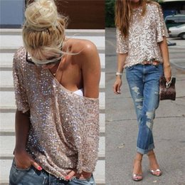 Wholesale New Arrivals Girl s Lady s Tops T Shirt Loose Oversized Sequined Sparkle Glitter Sleeve Cocktail Party Cotton Blends ED393 Fre