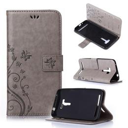 Qiaogle Phone Case - PU Leather Stand Wallet Flip Capa para Asus ZenFone 2 Selfie ZD550 / ZD551KL-GH01 / borboleta em relevo flor