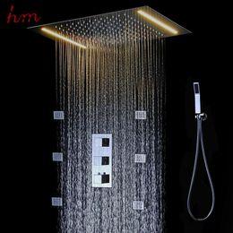 360*500MM Shower Head Stainless Steel Square LED Bathroom Shower Kits  Ceiling Mounted Rain Shower