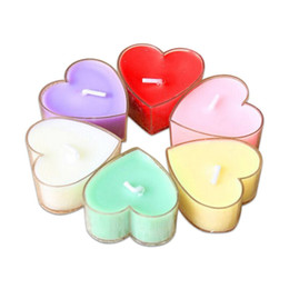 9pcs box paraffin heart shaped decorative candles pvc scented romantic candle party christmas wedding decoration hot sale - Decorative Candles
