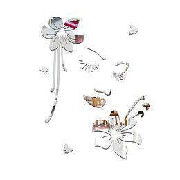 Discount Girls Bedroom Lights Romantic Flower Girl Wall Stickers Room Background Art Mirror Surface Diy 3d